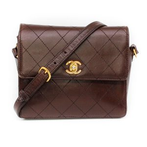 Chanel Lambskin Brown Quilted Square Crossbody Bag