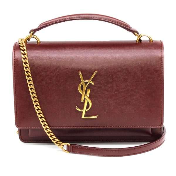 ysl sunset bag in maroon with gold chain