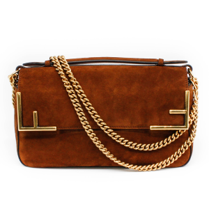 Fendi FF Double-Sided Shoulder Bag Brown Suede with Gold