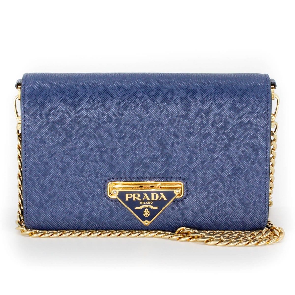 prada wallet on chain blue bag with prada logo front