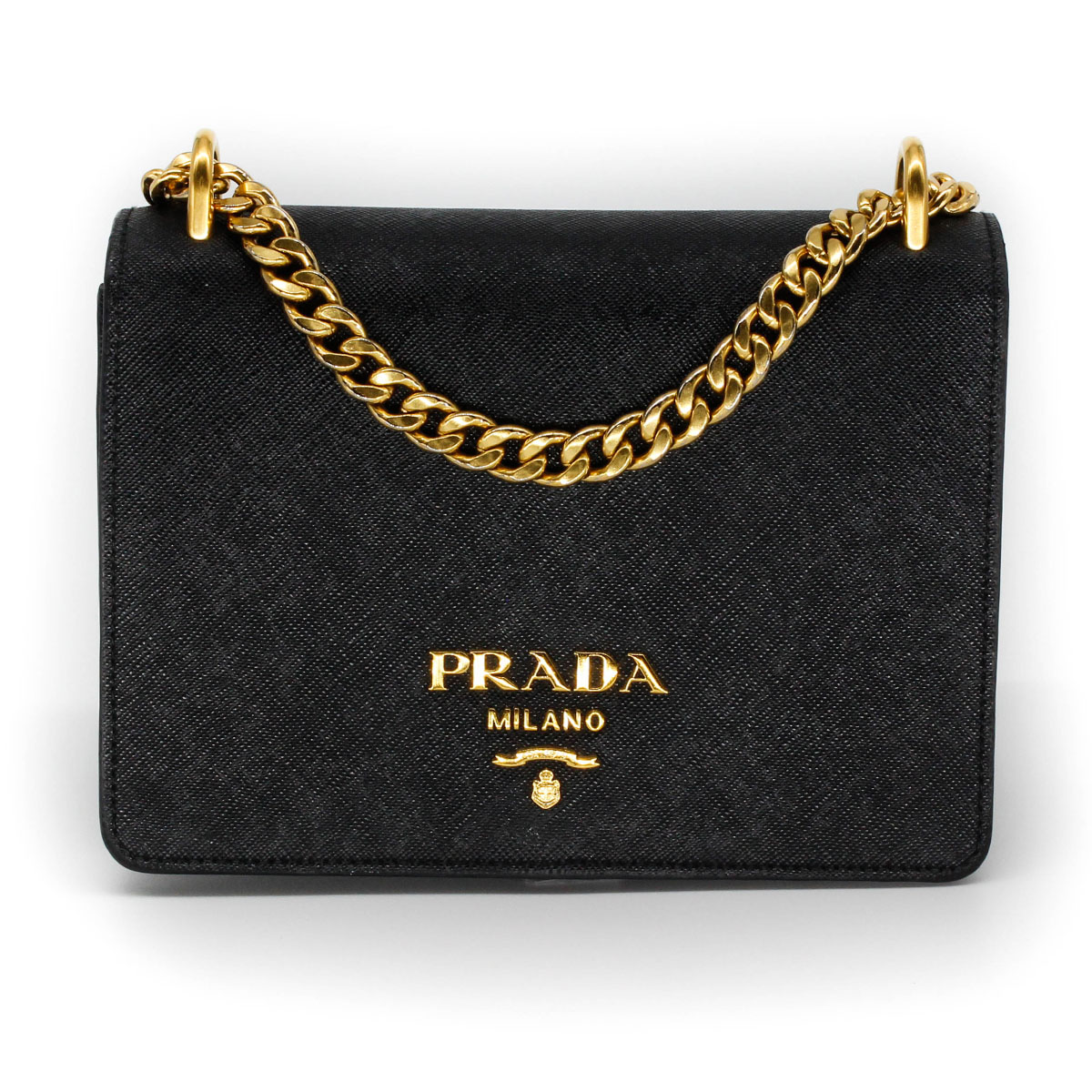 prada flap bag in black with gold chain front