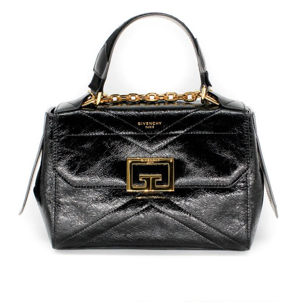 givenchy ID bag in aged patent leather with gold hardware front