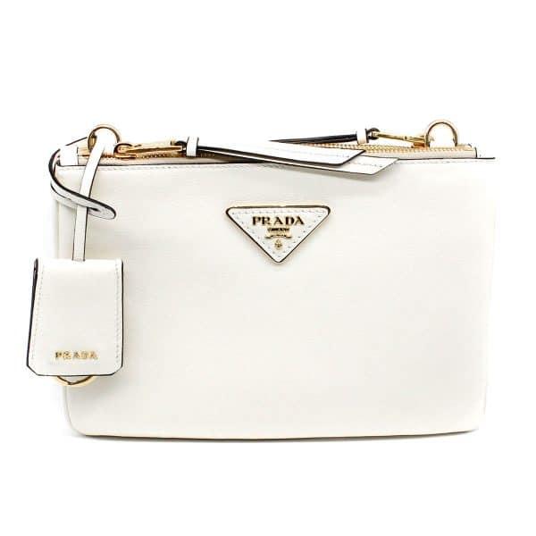 prada white bag front with gold hardware
