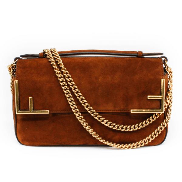 fendi suede brown handbag gold chain