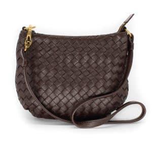Bottega Veneta Saddle Zip Bag Intrecciato Nappa Mini Brown