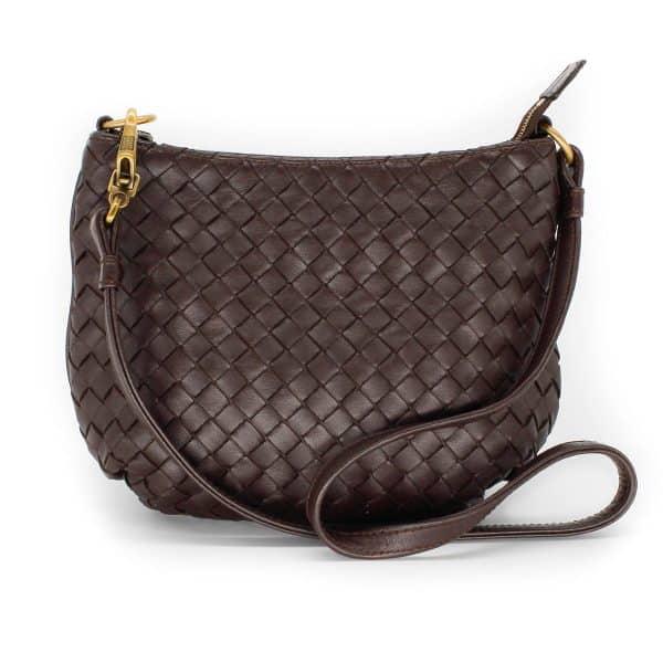 bottega veneta saddle bag in brown leather weaving front