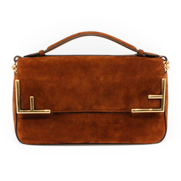 fendi suede brown handbag double sided