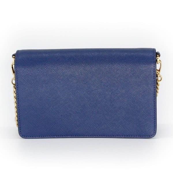 prada wallet on chain blue bag back