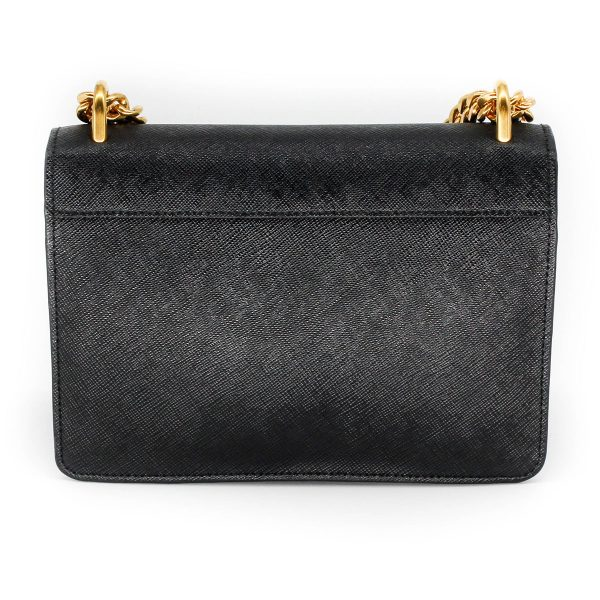 prada flap bag saffiano leather in black with gold chain back