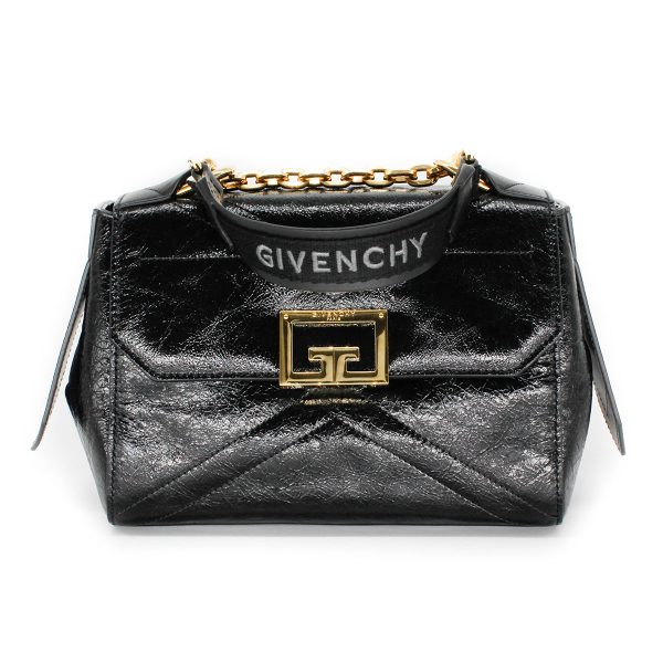 givenchy ID bag in aged patent leather with gold hardware and givenchy top handle