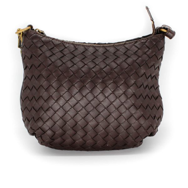 bottega veneta saddle bag in brown leather weaving back