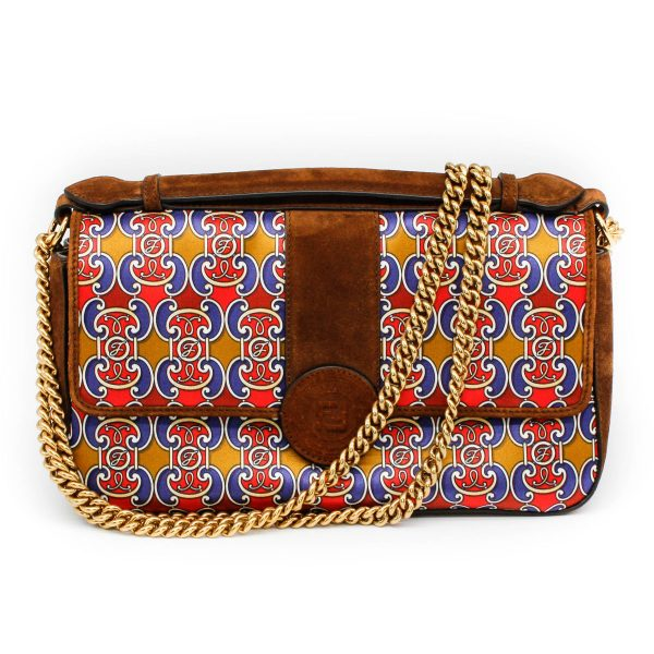 fendi bag with multi colored print, red blue and gold