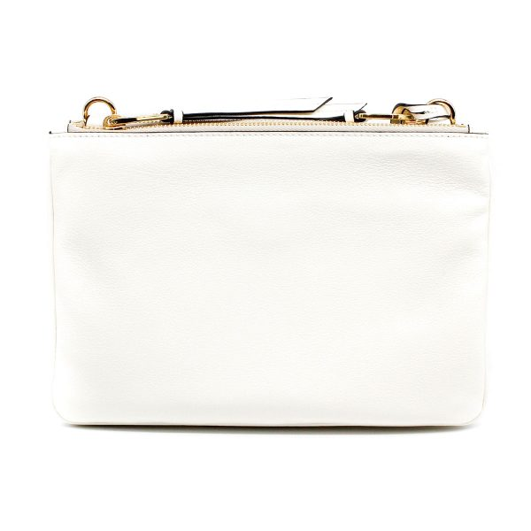 back of prada white bag with gold hardware clean