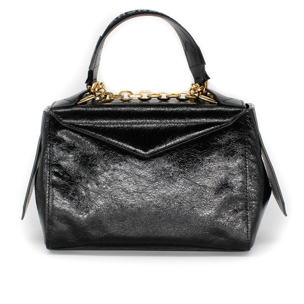 givenchy ID bag in aged patent leather with gold hardware back