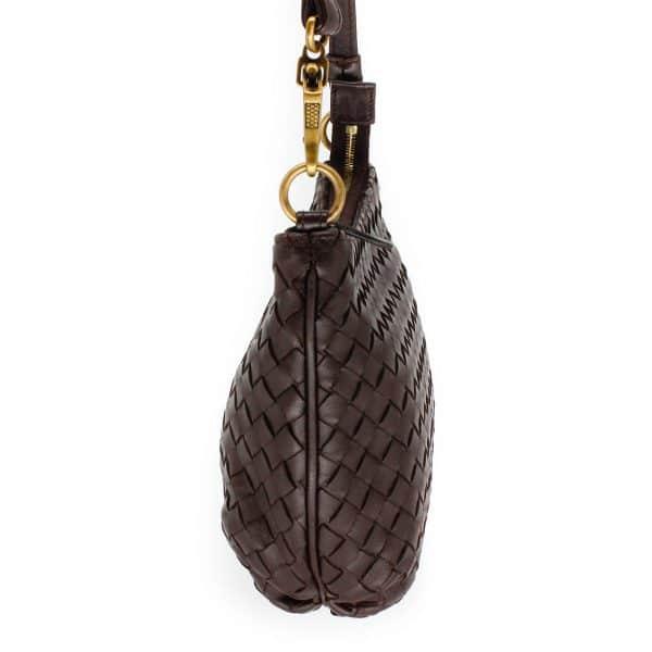 bottega veneta saddle bag in brown leather weaving side of bag