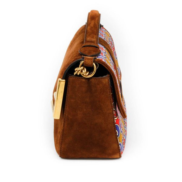 side of fendi suede double sided bag