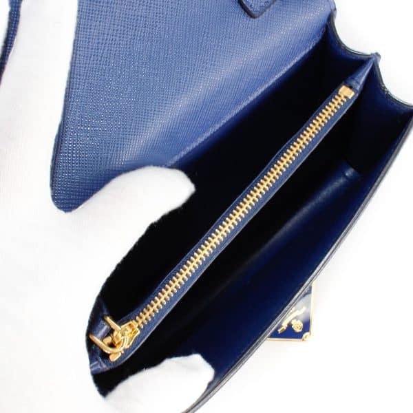 prada wallet on chain blue bag interior