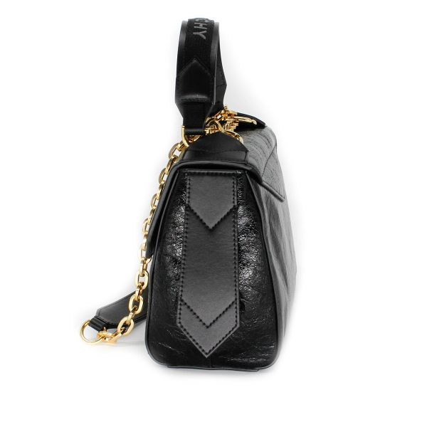 givenchy ID bag in aged patent leather with gold hardware side
