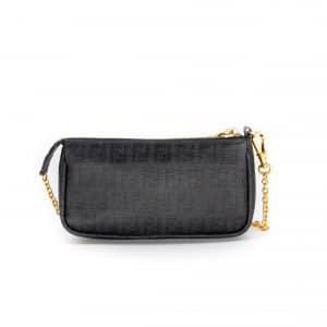 Fendi Zucca Spalmati Pochette Black Shoulder Bag Wristlet
