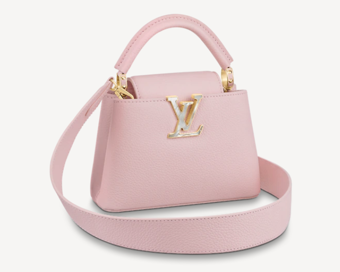 pink top handle with LV all leather bag
