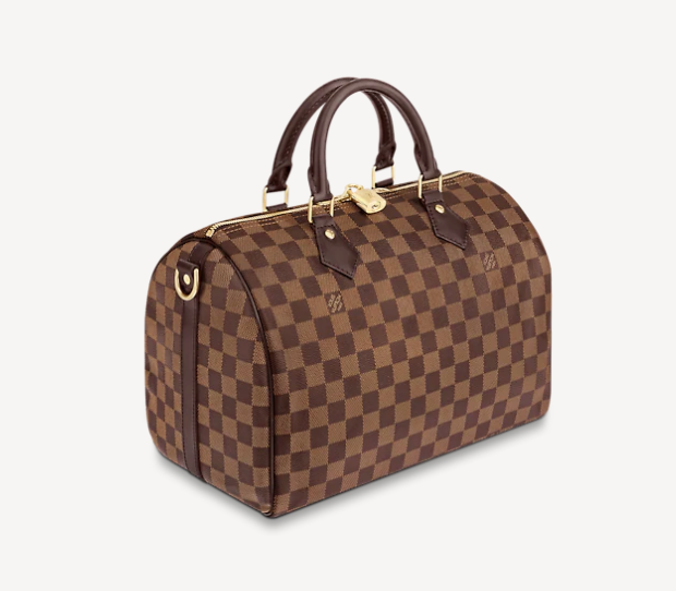 brown duffle bag with checkered
