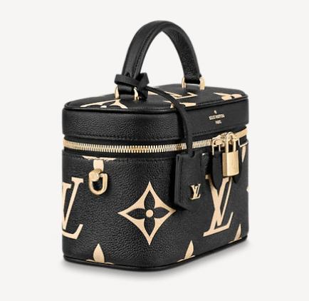 black and beige LV vanity pm bag with top handle