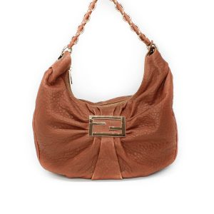 Fendi Brown Leather Mia Hobo Large Shoulder Bag