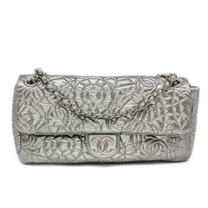 Chanel Jumbo Graphic Edge Patent Vinyl Quilted Flap Bag Silver