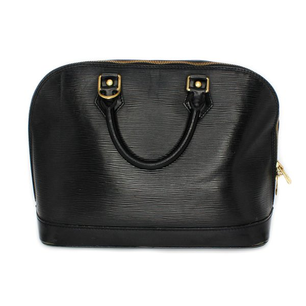 lv leather black alma epi texture
