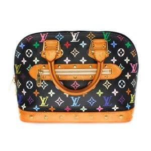 Louis Vuitton Alma Black Multi Color Leather Handbag