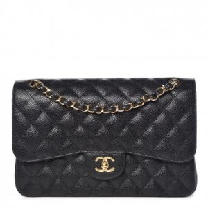 Chanel Classic Double Flap Quilted Caviar Gold-tone Jumbo Black