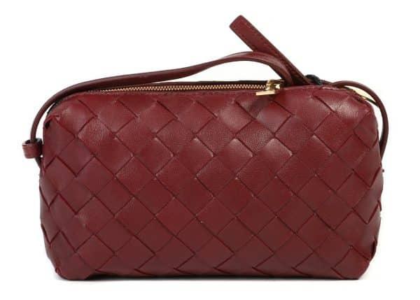 Bottega Veneta Intrecciato Crossbody Bag Red