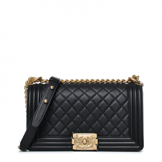 Chanel Boy Flap Quilted Caviar Gold-tone Medium Black
