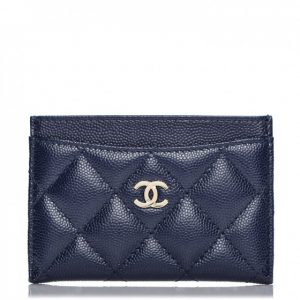Chanel Card Holder Quilted Caviar Navy Blue