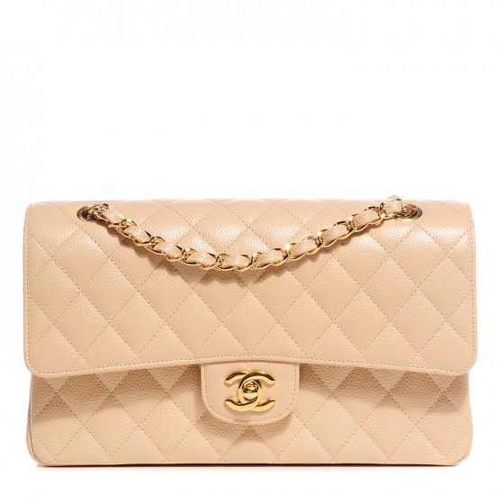 Chanel Classic Double Flap Quilted Caviar Gold-tone Medium Beige Clair