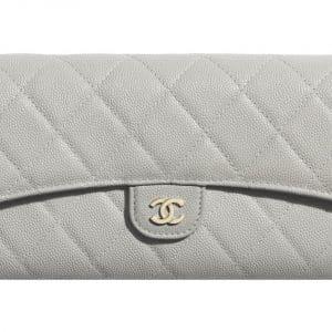 Chanel Classic Long Flap Wallet Grey