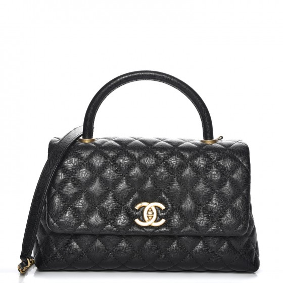 Chanel Coco Handle Flap Quilted Caviar Aged Gold-tone Small Black