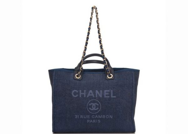 Chanel Deauville Tote Gold-tone Large Navy Blue