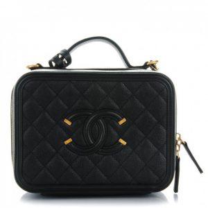 Chanel Filigree Vanity Case Quilted Caviar Gold-tone Medium Black