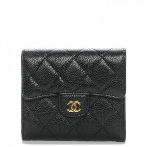 Chanel Flap Compact Wallet Quilted Caviar Gold-tone Black