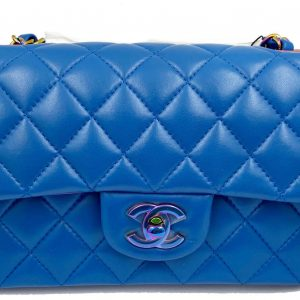 Chanel Mini Rectangular Flap 21P Blue Lambskin