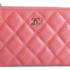 Chanel O Case Quilted Iridescent Caviar Gold-tone Pink