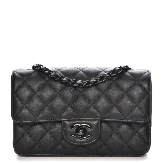 Chanel Rectangular Flap Quilted So Black Diamond Mini Black