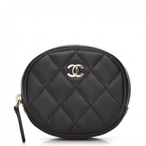 Chanel Zip Around Classic Coin Purse Quilted Diamond Black