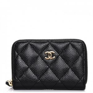 Chanel Zip Coin Purse Quilted Caviar Gold-tone Black