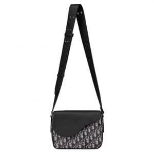 Dior Saddle Messenger Bag Oblique Jacquard Black Canvas/Leather