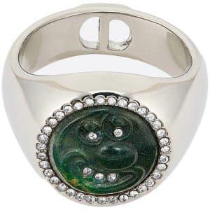 Dior x Kenny Scharf Signet Ring Jade Silver