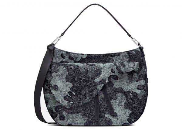 Dior x Peter Doig Saddle Soft Bag Denim Camouflage Jacquard