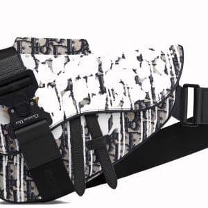 Dior x Raymond Pettibon Saddle Bag Oblique White/Black