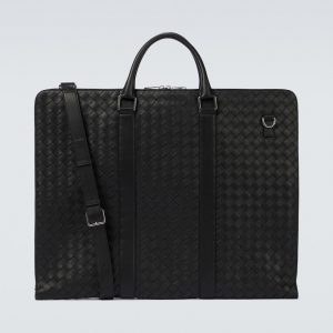 Intrecciato leather garment bag